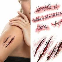 25 darabos élethű véres sebhely tetoválás, sebhely tetkó - halloween, farsang kiegészítő