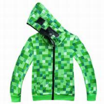 Minecraft Creeper jelmez ruha kapucnis zöld pulóver kardigán