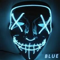 The Purge A bűn éjszakája LED világító halloween, farsangi maszk - KÉK