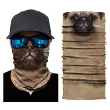 Állatos csősál, maszk, símaszk - barna kutya, Pug, Mopsz
