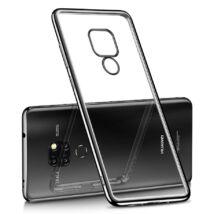Huawei Mate 20 Pro tok - fekete erősített keretű szilikon védőtok