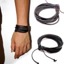 Divatos bőr karkötő - fekete