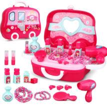 16 darabos kislány játék smink fodrász bőrönd