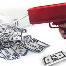 3bfd0ab8c4 Bankjegy kilövő, pénz szóró pisztoly - 100db játékpénzzel