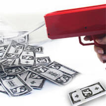 Bankjegy kilövő, pénz szóró pisztoly - 100db játékpénzzel