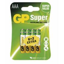 GP Super Alkaline LR03 AAA elemek Super Value Pack - 6 + 2 db