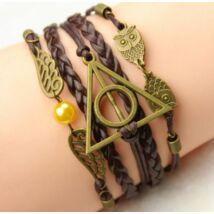 Harry Potter Halál Ereklyéi cikesz, bagoly karkötő - barna