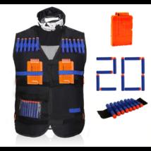 Fekete mellény, maszk, karpánt, tölténytár és 20 lőszer szett nerf csatákhoz