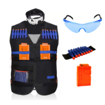 Fekete mellény, maszk, karpánt, tölténytár, védőszemüveg szett nerf csatákhoz