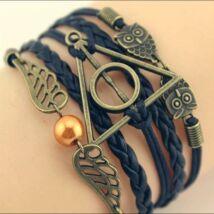 Harry Potter Halál Ereklyéi cikesz, bagoly karkötő - fekete