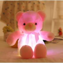 Nagy színes világító plüss medve LED Teddy maci - rózsaszín, pink