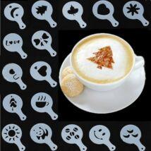 16 darabos barista kávé díszítő kakaószóró sablon készlet