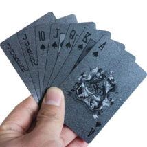 Fekete színű műanyag pókerkártya francia kártya plasztikkártya készlet