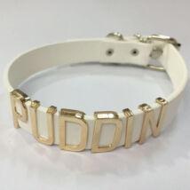 Harley Quinn jelmez kiegészítő - Puddin csatos nyklánc nyakörv fehér