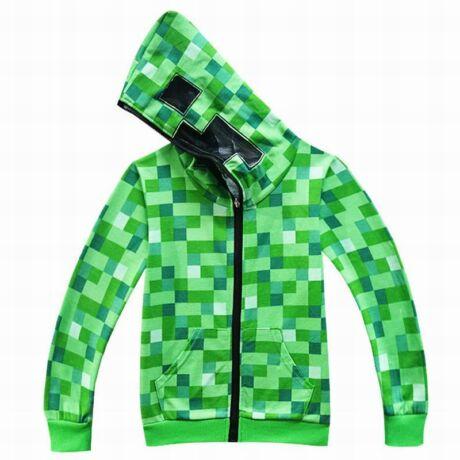 Minecraft Creeper kapucnis zöld pulóver kardigán