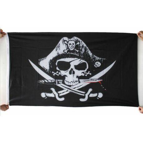 Kalóz halálfejes koponyás lobogó zászló 90x150cm