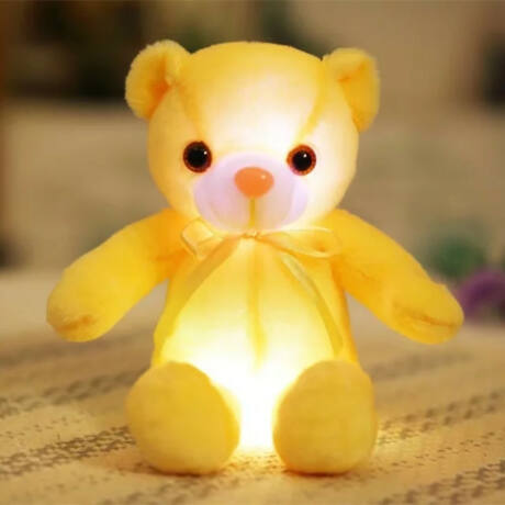 Nagy színes világító plüss medve LED Teddy maci - sárga
