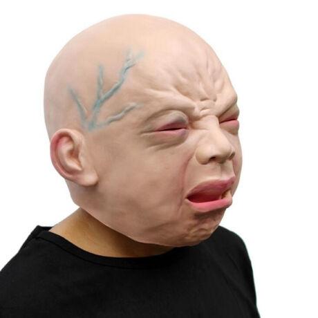 Gyerek bébi síró baba halloween, farsangi gumi maszk