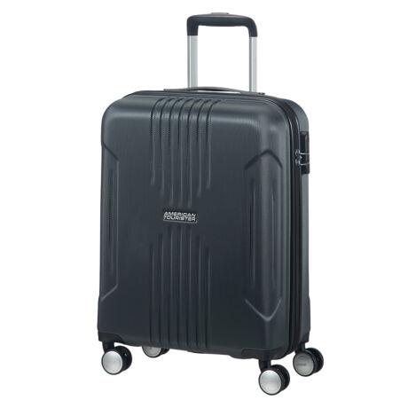 American Tourister by Samsonite Tracklite Spinner négy kerekes gurulós bőrönd (Wizzair, Ryanair kézipoggyász méret) fekete