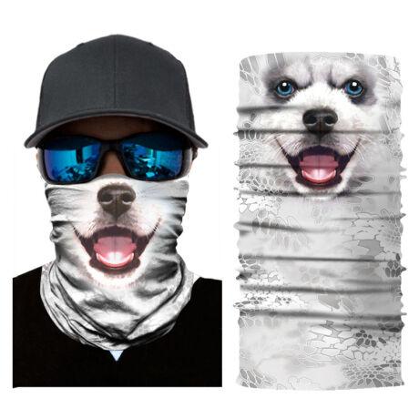 Állatos csősál, maszk, símaszk - Fehér kutya, Husky