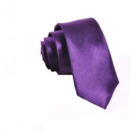 Keskenyített egyszínű vékony nyakkendő - lila