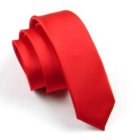 Keskenyített egyszínű vékony nyakkendő - piros, vörös