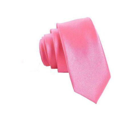 Keskenyített egyszínű vékony nyakkendő - rózsaszín, pink