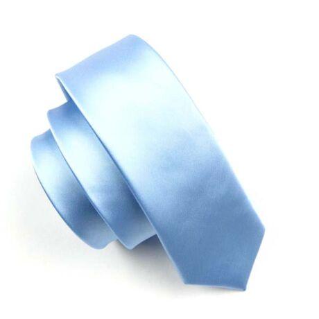 Keskenyített egyszínű vékony nyakkendő - világoskék
