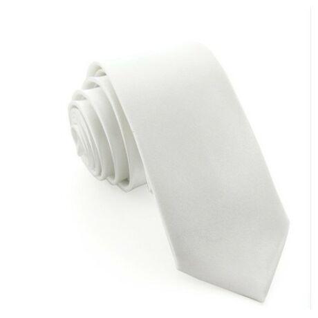 Keskenyített egyszínű vékony nyakkendő - hófehér, fehér