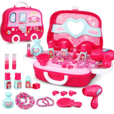 16 darabos kislány játék smink bőrönd