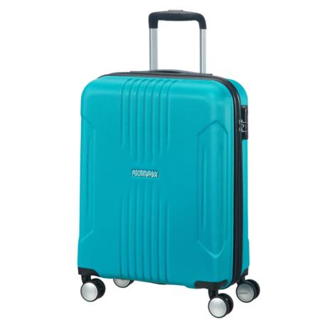 American Tourister by Samsonite Tracklite Spinner kabinbőrönd gurulós bőrönd (Wizzair, Ryanair kézipoggyász méret) kabinbőrönd kék
