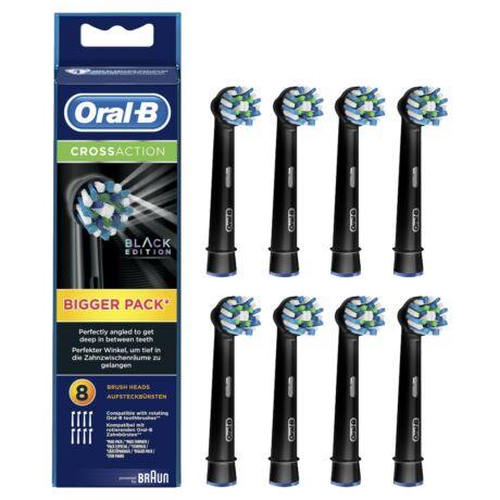 Braun Oral-B CrossAction BLACK EB50-8 elektromos fogkefe pótfejek 8db - fekete