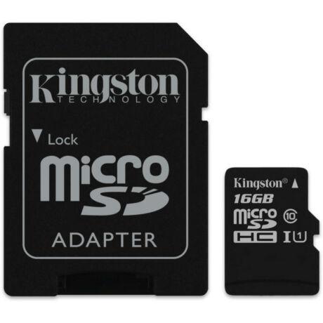 Kingston microSDHC 16GB C10/UHS-I SDCS/16GB micro SD memóriakártya SD adapterrel