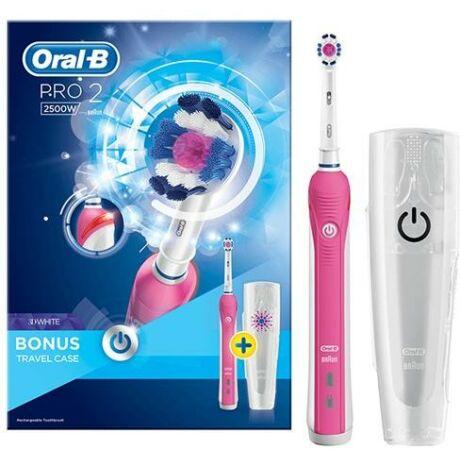 Braun Oral-B Pro 2 2500 Cross Action fekete elektromos fogkefe utazótokkal - pink