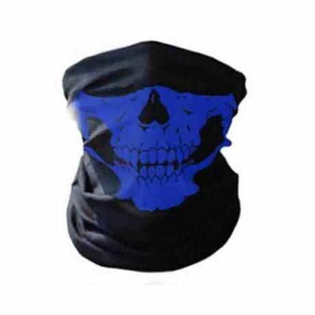 Koponyás csontváz csősál, koponya maszk, símaszk - kék