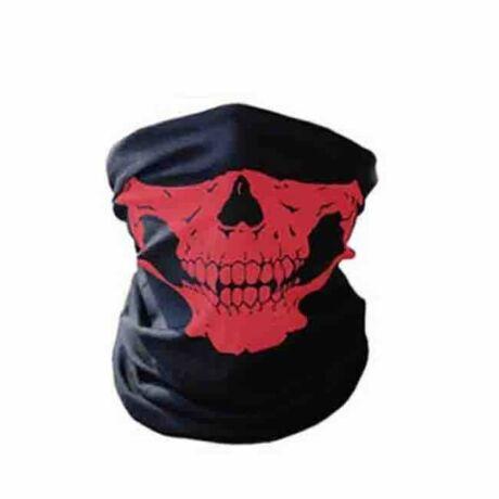 Koponyás csontváz csősál, koponya maszk, símaszk - piros