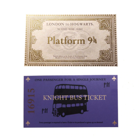 Harry Potter 9 és 3/4 vágány vonatjegy és Kóbor Grimbusz buszjegy
