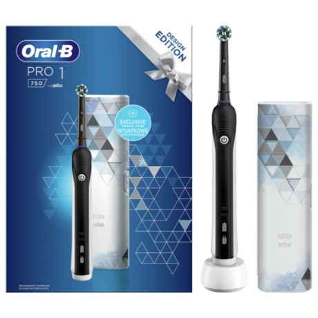 Braun Oral-B Pro 750 Cross Action fekete elektromos fogkefe utazótokkal - Design Edition