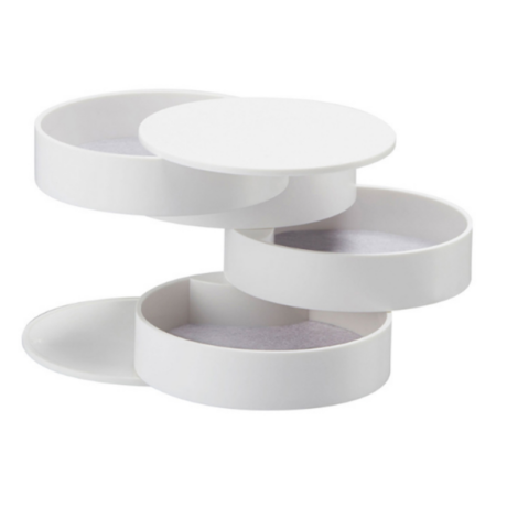 Design ékszertartó doboz, henger, többszintes - fehér