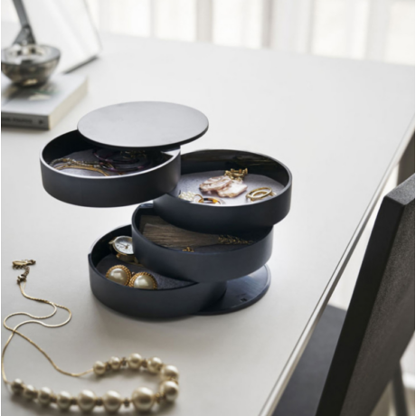 Design ékszertartó doboz, henger, többszintes - fekete