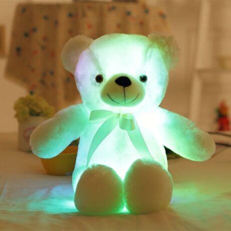 Nagy színes világító plüss medve LED Teddy maci - fehér