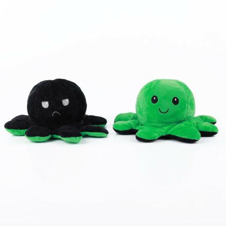 Kifordítható, vidám-szomorú polip plüss - zöld-fekete