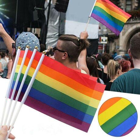 Szivárványzászló LMBT Budapest Pride kis zászló rúddal - 14x21cm - 4db