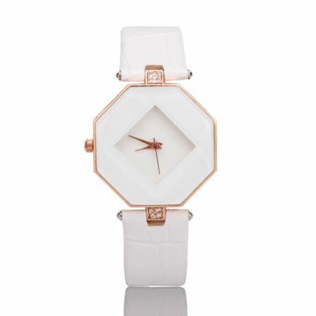 Egyedi minimalista nyolcszögletű karóra - fehér