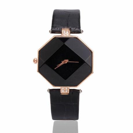 Egyedi minimalista nyolcszögletű karóra - fekete