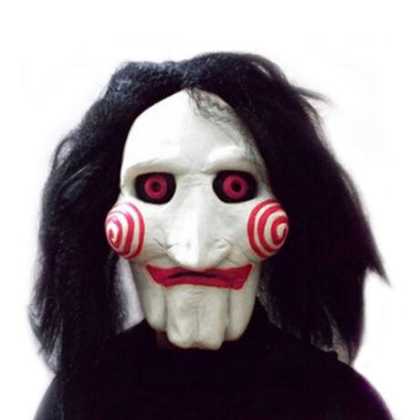 SAW Jigsaw Fűrész halloween farsangi gumi maszk álarc hajjal
