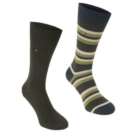 Tommy Hilfiger férfi zokni 2 pár, csíkos, sötétzöld (EU 43-46)