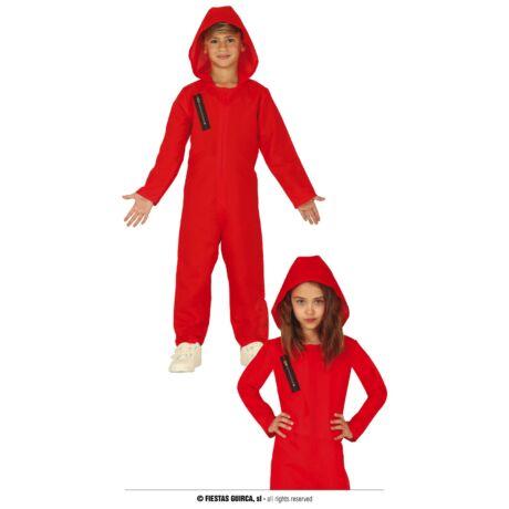 El Casa De Papel - Money Heist - A Nagy Pénzrablás halloween farsangi jelmez kiegészítő - piros overál (gyerek) (méret:XL)