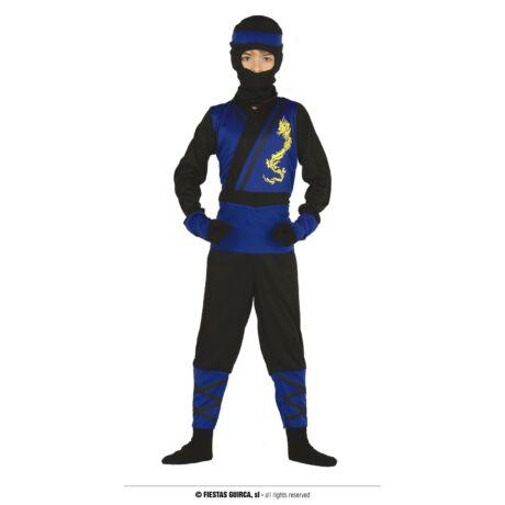 Kék nindzsa, ninja halloween farsangi jelmez szett - gyerek (méret:L)