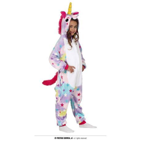 Színes, csillag mintás unikornis pizsama - gyerek (méret:M)